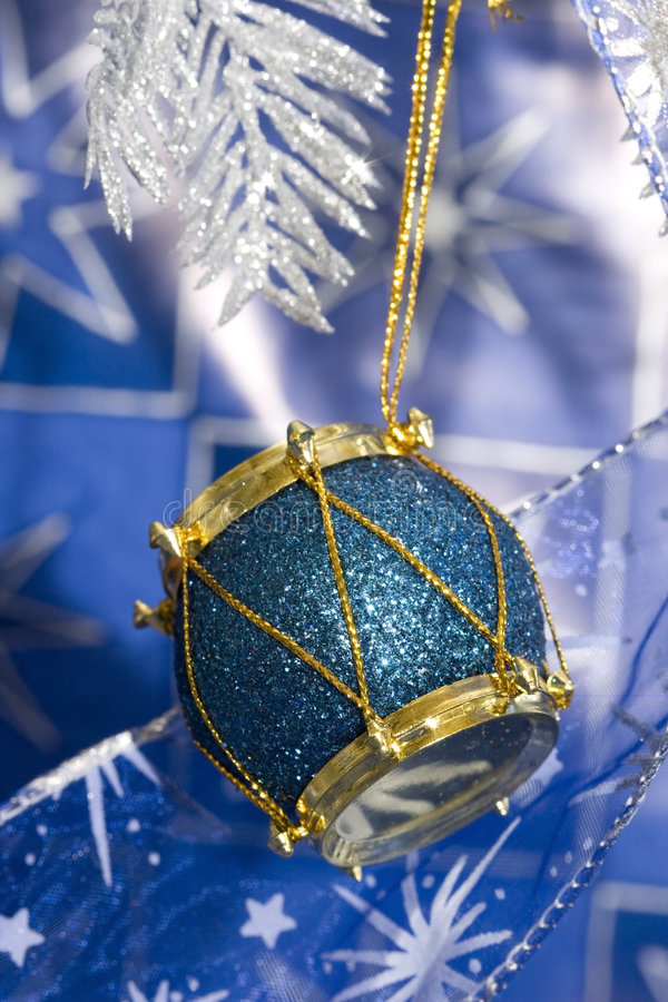 Blue new-year drum. And Christmas tree royalty free stock photos
