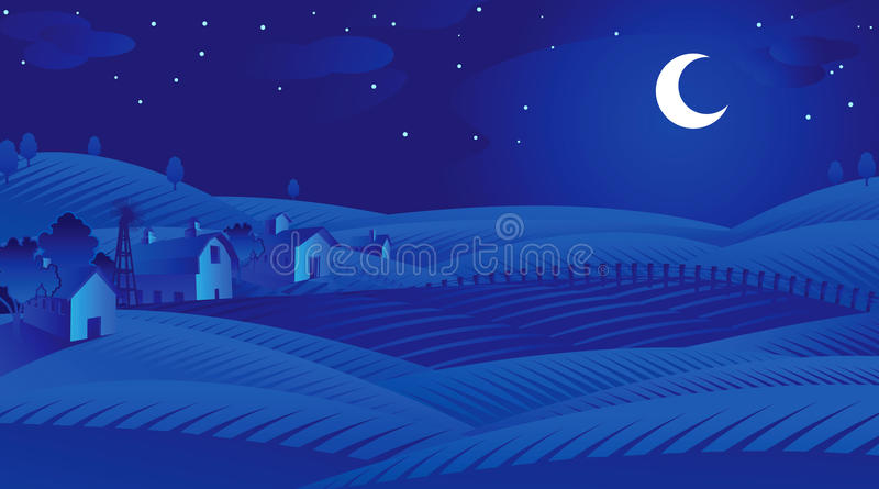 Download Blue Night stock vector. Image of night, trees, agriculture - 9484719