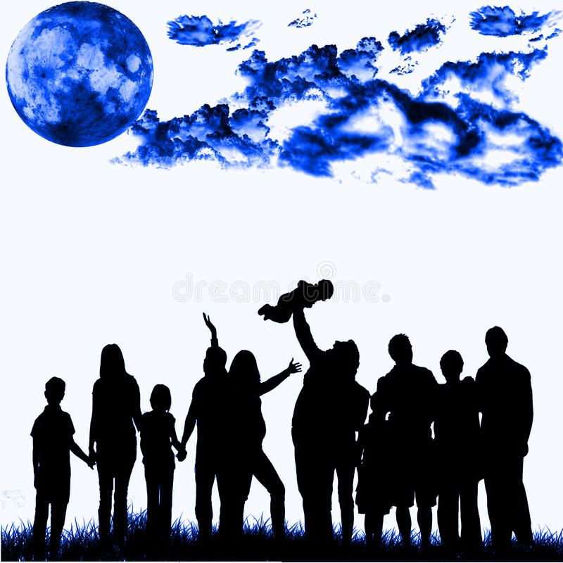 Blue night crowd. A crowd of people under the blue moon and clouds vector illustration