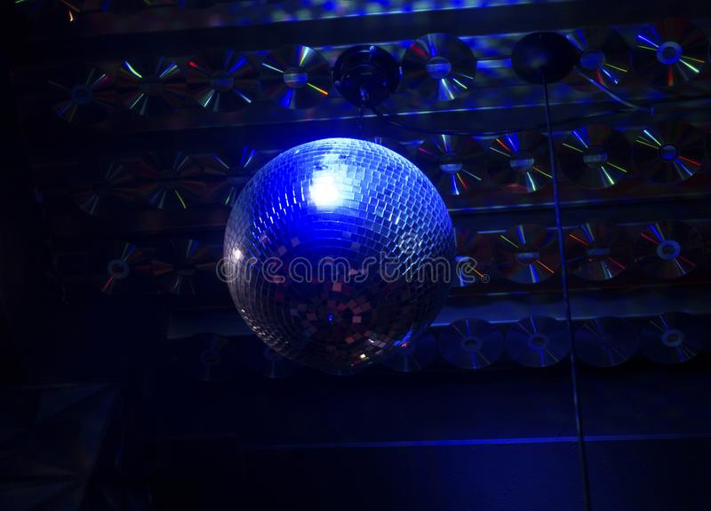 Blue night discoball. In darkness royalty free stock image