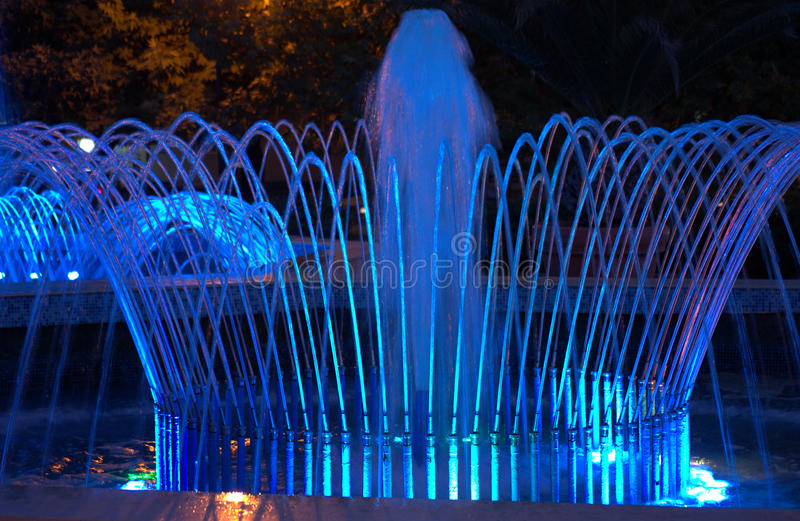 Blue night fountains royalty free stock images