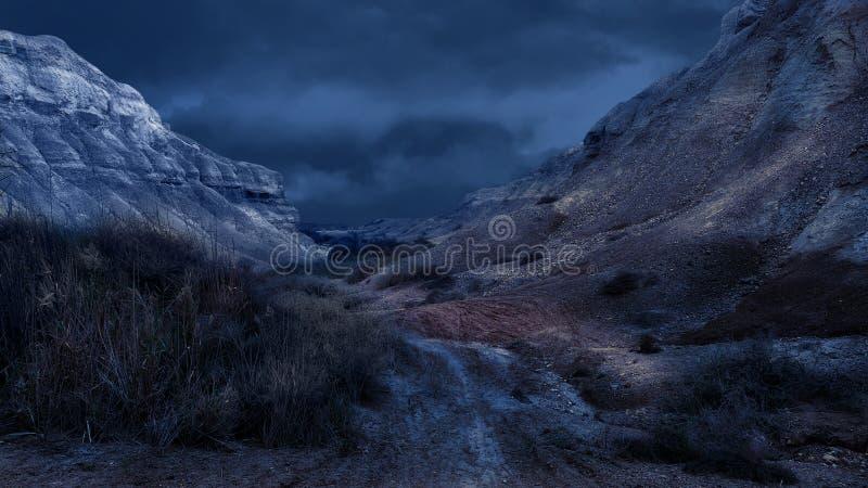 Blue Night in the Judean Desert. Israeli Desert Landscape royalty free stock photography