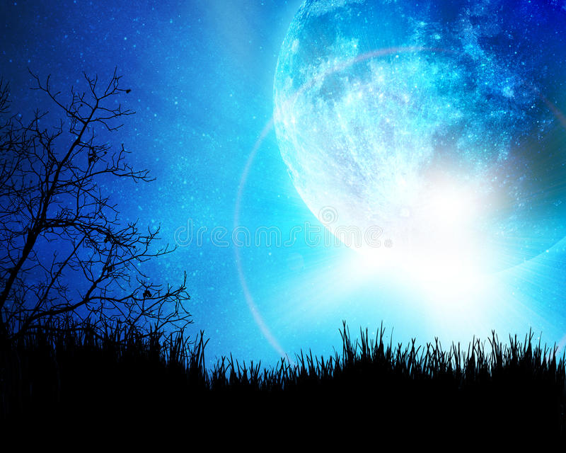 Blue night with moon. Background stock photos