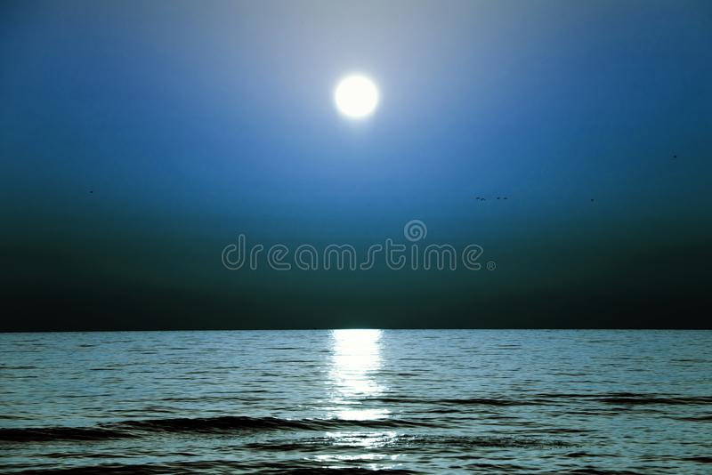 A blue night sky over the sea. Beauty world royalty free stock images