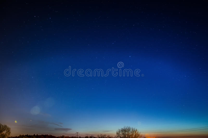 Blue night sky with stars royalty free stock photography
