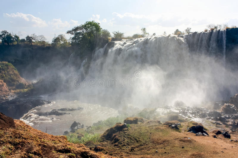Blue Nile Falls. In Northern Ethiopia. The  is a waterfall on the Blue Nile river in Ethiopia. It is known as Tis Abay in Amharic, meaning smoking water. It is royalty free stock image