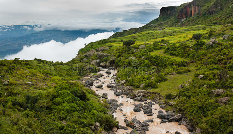 Blue Nile Gorge in Ethiopia. View of Blue Nile Gorge and Valley in Ethiopia stock photo