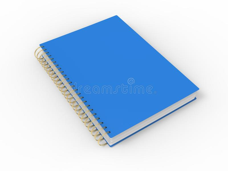 Blue notebook with golden spiral binding on white background stock illustration