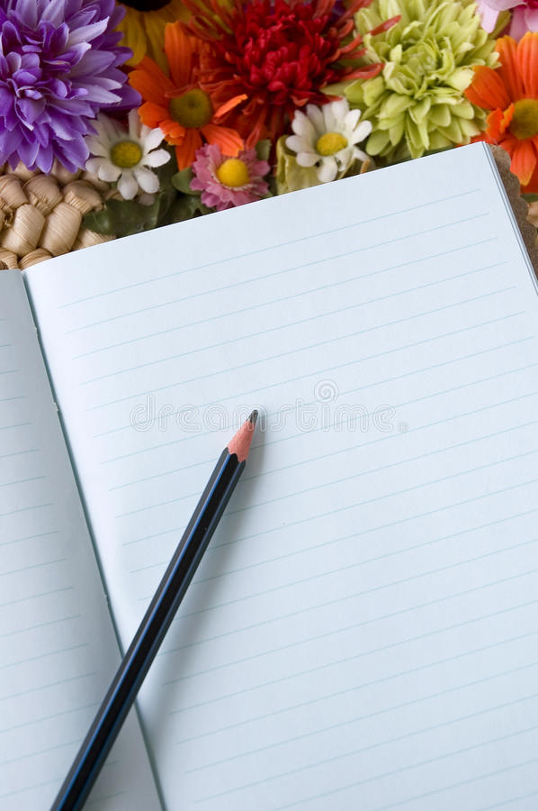Blue Notebook With Pencil Stock Photo