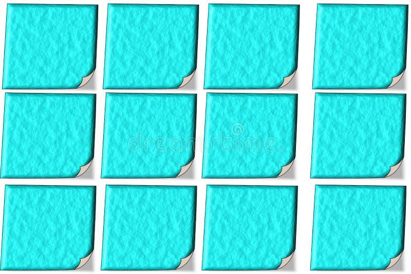 12 Blue Noten in 3D mit Struktur vektor abbildung
