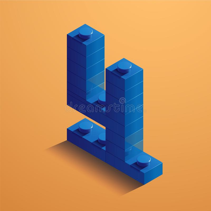 Blue number four of consructor brick on yellow background. 3D Lego brick . Vector illustration stock illustration