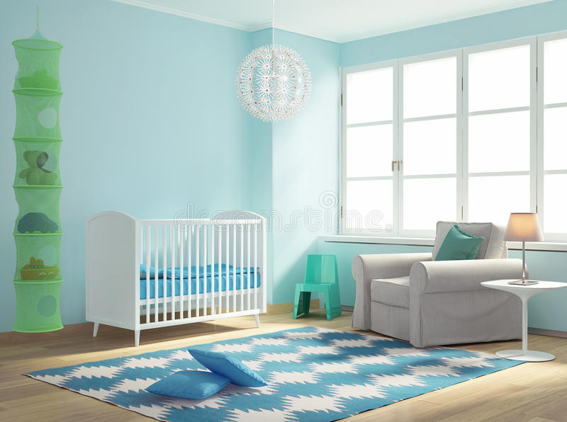 Blue nursery baby room with rug. Rendering of a Blue nursery baby room with rug stock illustration