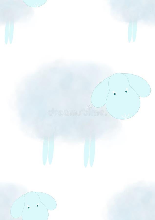 Download Blue nursery wallpaper stock illustration. Illustration of pale - 12518836