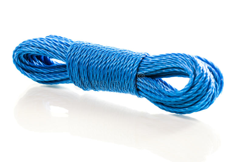 Blue nylon utility rope equipment object isolated. On white background royalty free stock photography