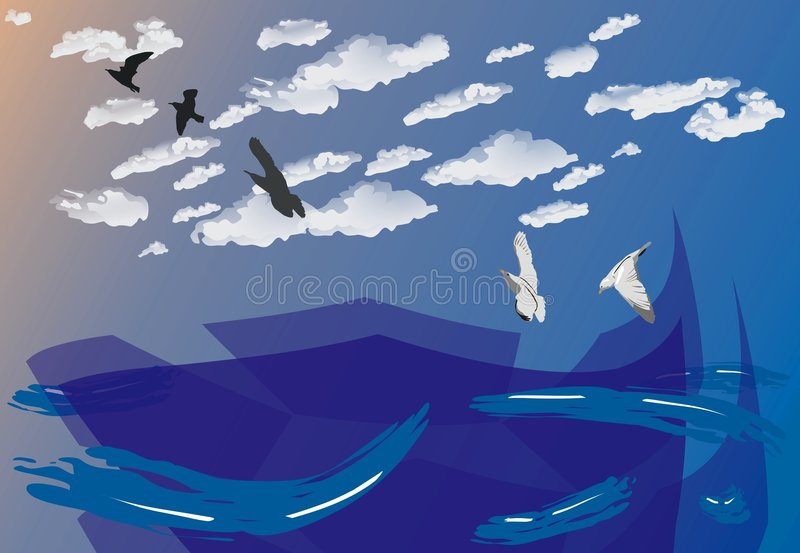 Blue ocean background, vector illustration