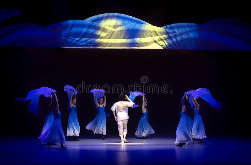 Blue ocean hope-Huang Mingliang`s dance`No shelter`. In May 25, 2018, the dance drama `no shading` was staged at the theater of Jiangxi science and technology stock image