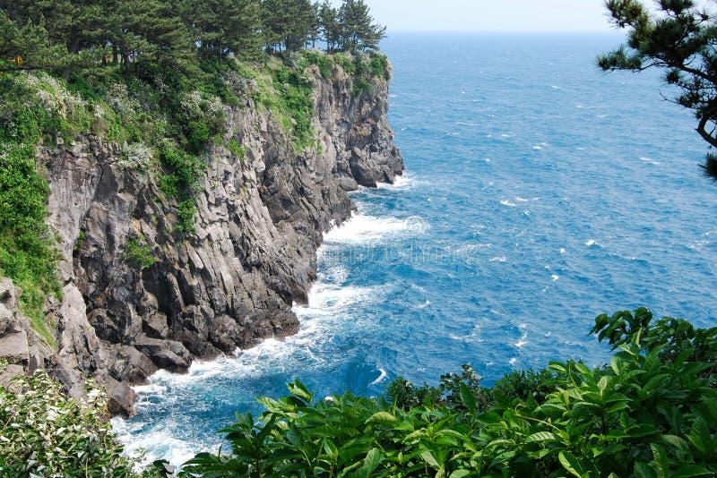Blue ocean, Jeju Island stock images