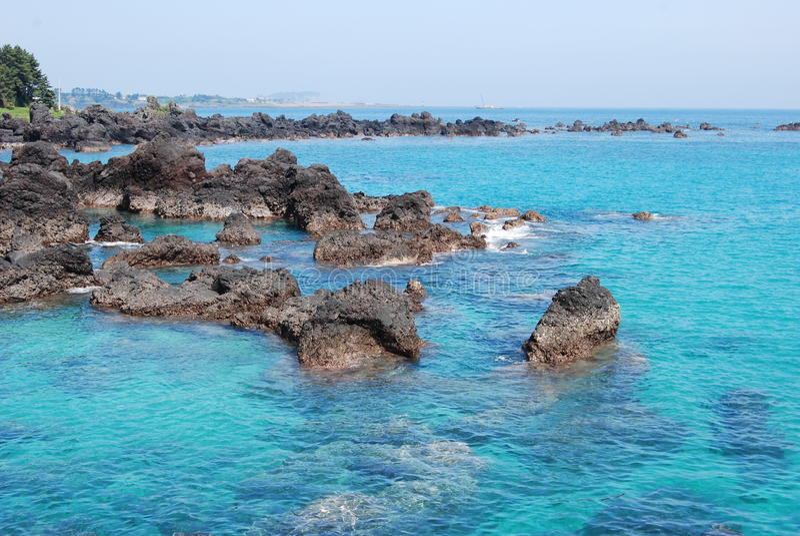 Blue ocean, Jeju Island royalty free stock photography