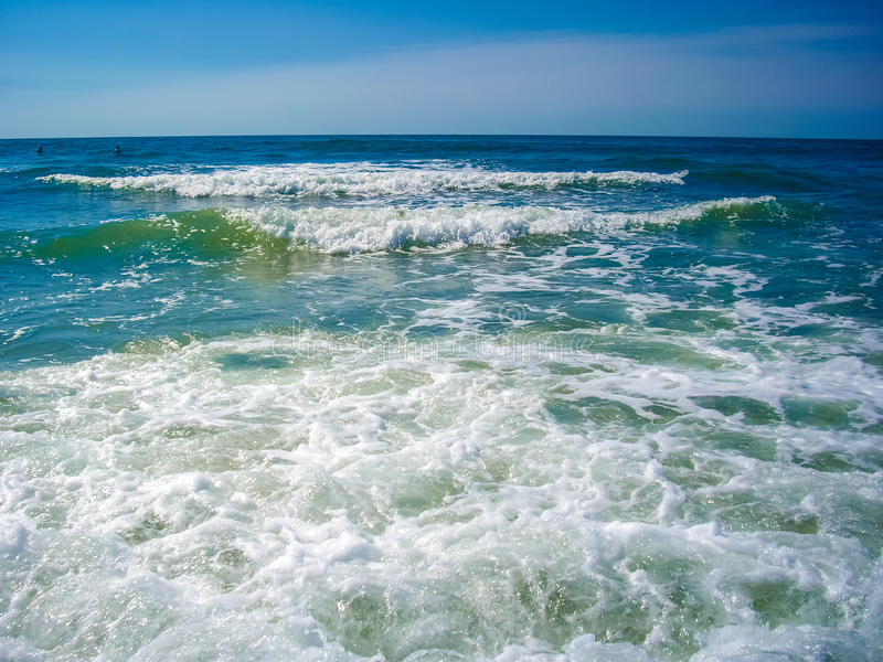 Blue ocean rough wave cureent. The Atlantic ocean horizon with rough waves, current royalty free stock image