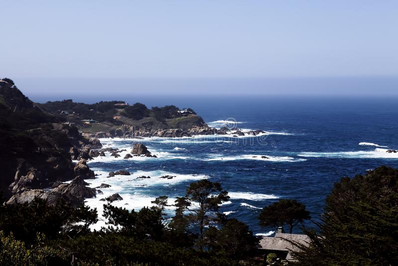 Rocky Coast Pacific Ocean Carmel Highlands California stock photo