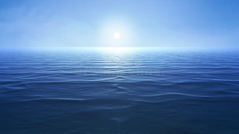 a blue ocean with sun over the horizon vector illustration