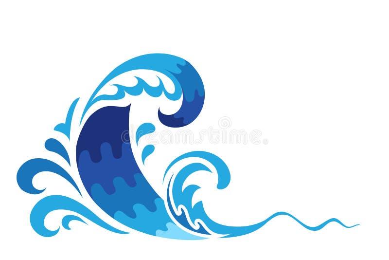 Blue ocean wave royalty free illustration