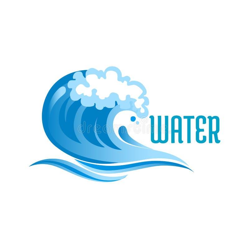 Blue ocean wave with foam bubbles stock illustration