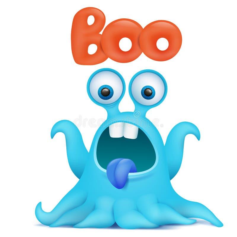 Blue octopus cartoon alien monster saying boo royalty free illustration