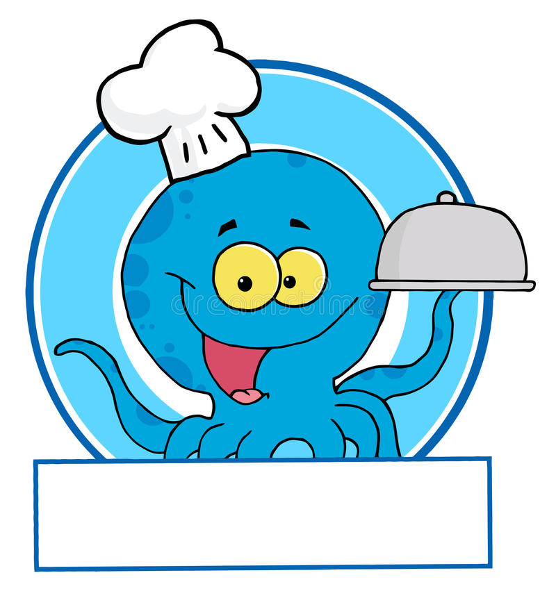 Download Blue octopus chef stock vector. Image of graphic, illustration - 16161401