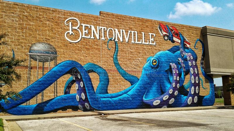 Bentonville Arkansas mural stock photo