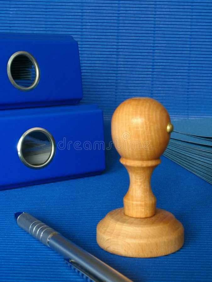 Blue office. An image of blue office - desk royalty free stock photography