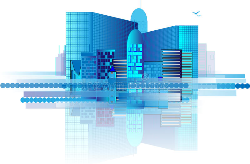 Blue office buildings in city vector illustration