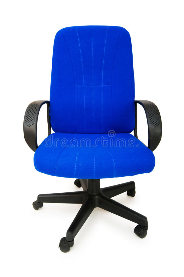 Blue office chair isolated royalty free stock photography