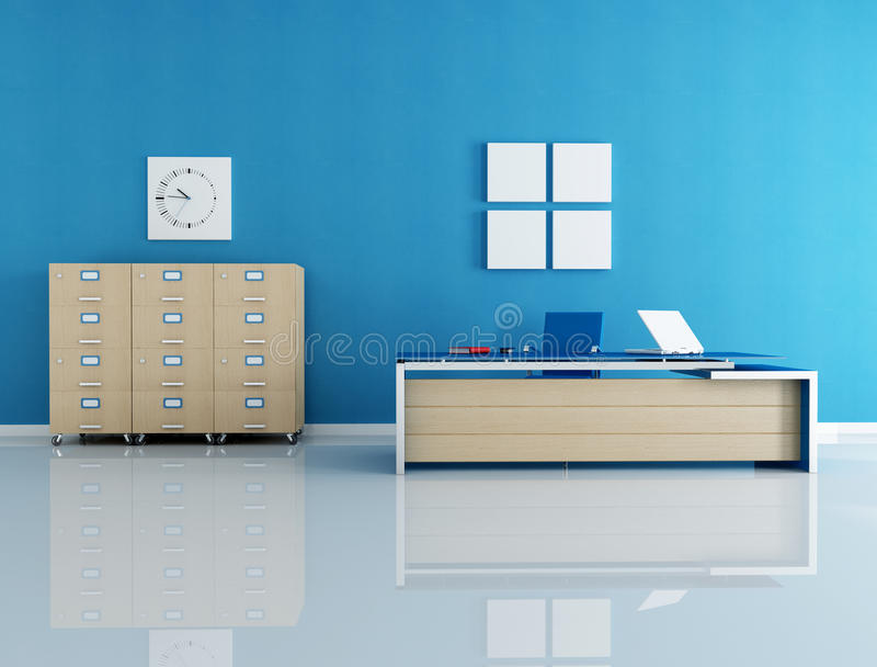 Blue office interior vector illustration