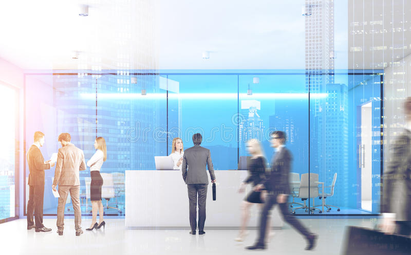Blue office with people, front, double. Front view of businesspeople passing by a reception counter in an office with blue walls. 3d rendering, toned image stock photo