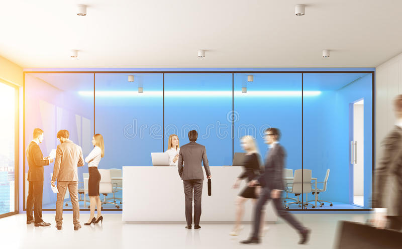 Blue office with people, front. Front view of businesspeople passing by a reception counter in an office with blue walls. 3d rendering, toned image stock image