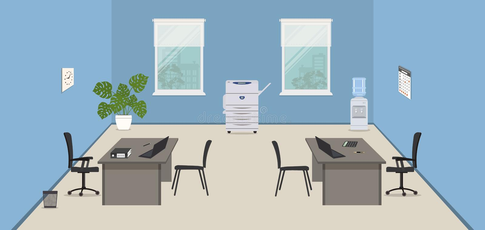 Blue office room with gray desks, black chairs, a copy machine and a water cooler, royalty free illustration
