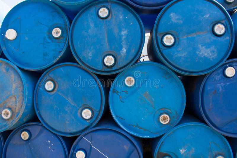 Blue oil barrels. Of gas station royalty free stock images