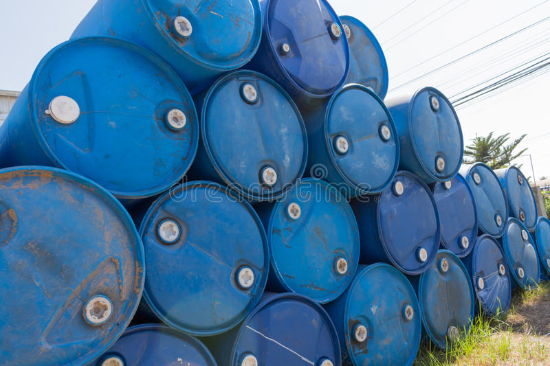 Blue oil barrels. Of gas station royalty free stock photography