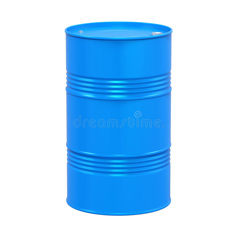 Blue Oil Drum Isolated. On white background. 3D render royalty free illustration