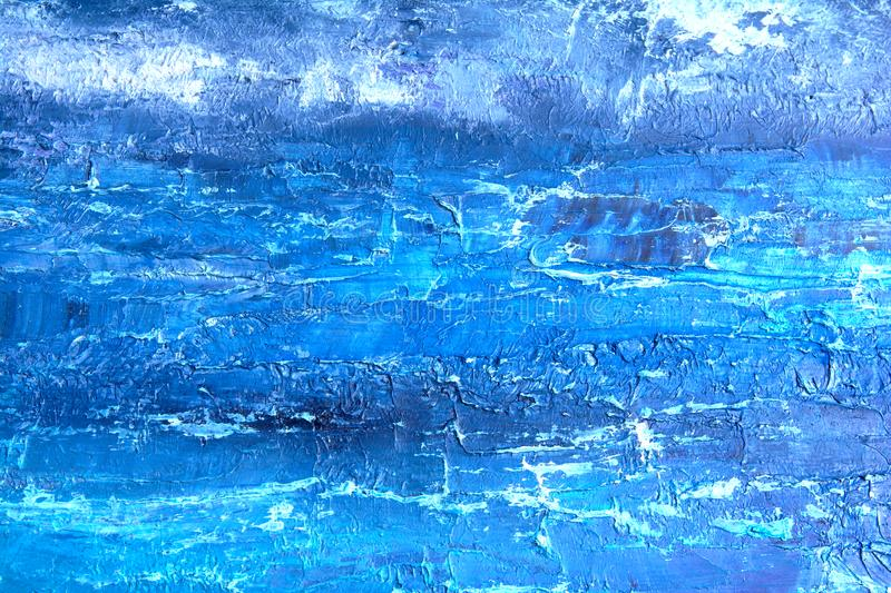 Blue oil painting, close up. Oily painting on canvas. Oily painting on canvas. Fragment. Textured painting. Abstract art royalty free stock photography