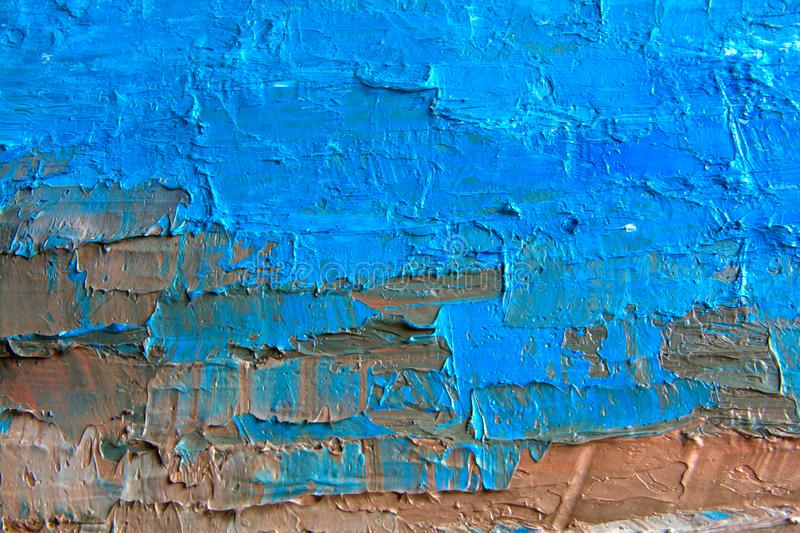 Blue oil painting, close up. Oily painting on canvas. Oily painting on canvas. Fragment. Textured painting. Abstract art stock photography