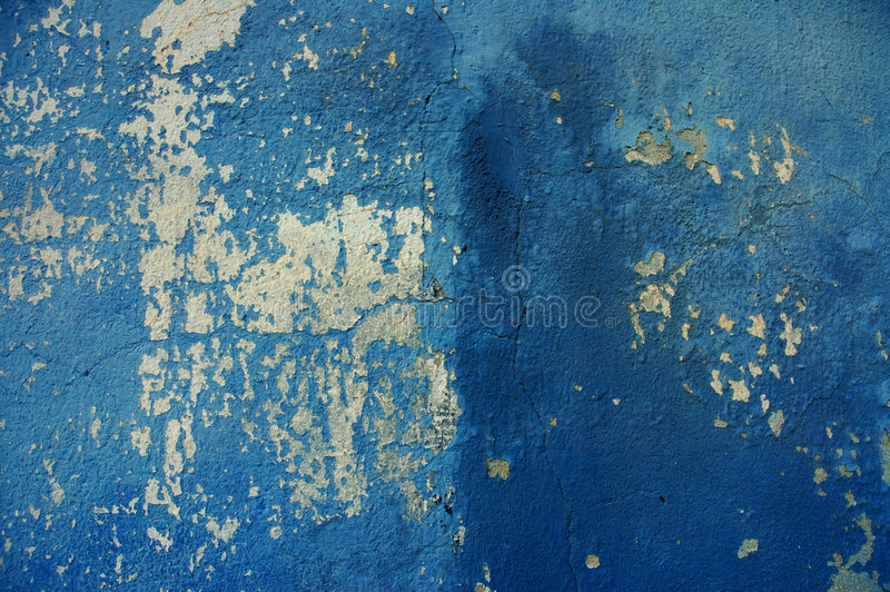 Blue old cracked wall stock photos