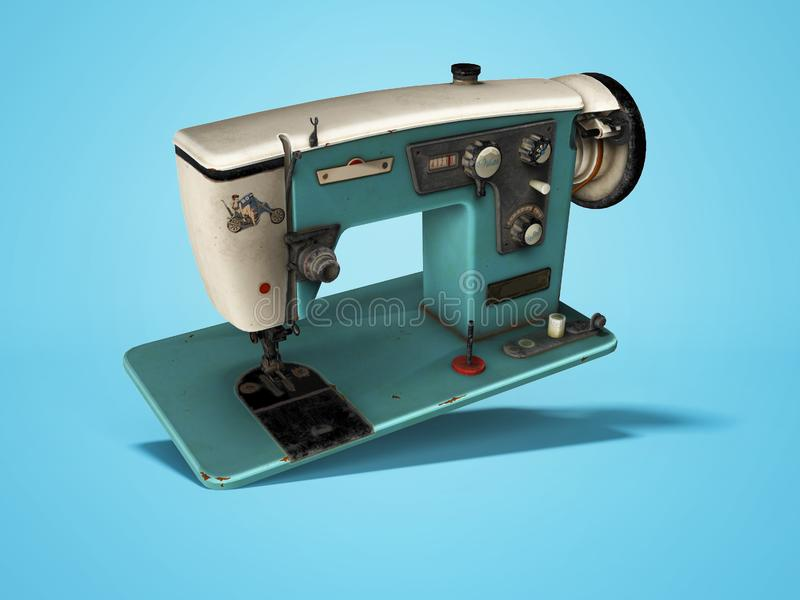 Blue old electric sewing machine falls on the floor 3d render on blue background with shadow. Blue old electric sewing machine falls on the floor 3d render on stock illustration
