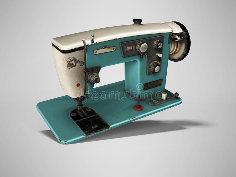 Blue old electric sewing machine falls on the floor 3d render on gray background with shadow. Blue old electric sewing machine falls on the floor 3d render on vector illustration