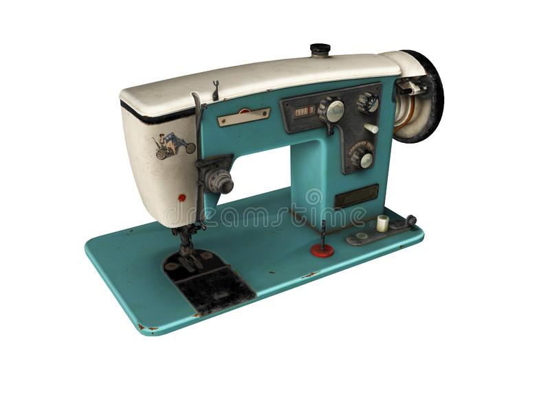 Blue old electric sewing machine falls on the floor 3d render on white background no shadow. Blue old electric sewing machine falls on the floor 3d render on royalty free illustration