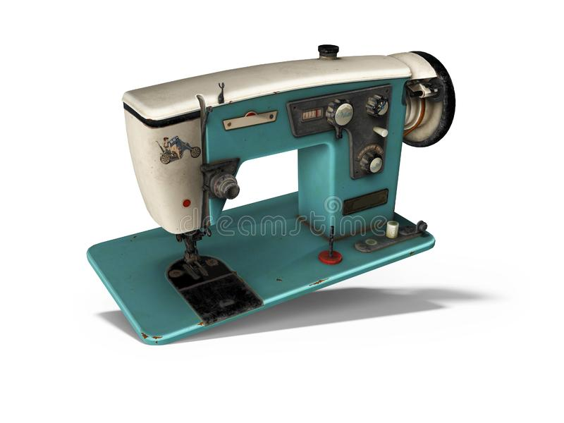 Blue old electric sewing machine falls on the floor 3d render on white background with shadow. Blue old electric sewing machine falls on the floor 3d render on royalty free illustration