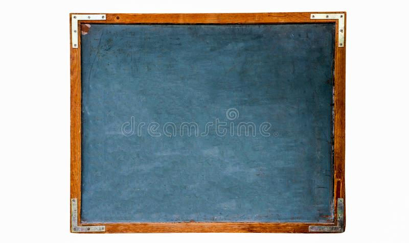 Blue old grungy vintage wooden empty school chalkboard or retro blackboard with weathered frame white background royalty free stock photo
