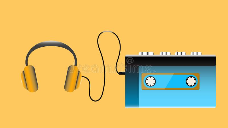 Blue old retro vintage hipster realistic volumetric portable music cassette audio player for playing audio cassettes from the 80` vector illustration