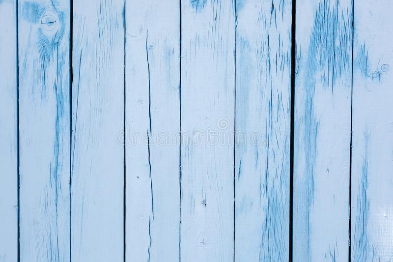Blue old rough wooden textured background. Rustic wood painted wall stock photo